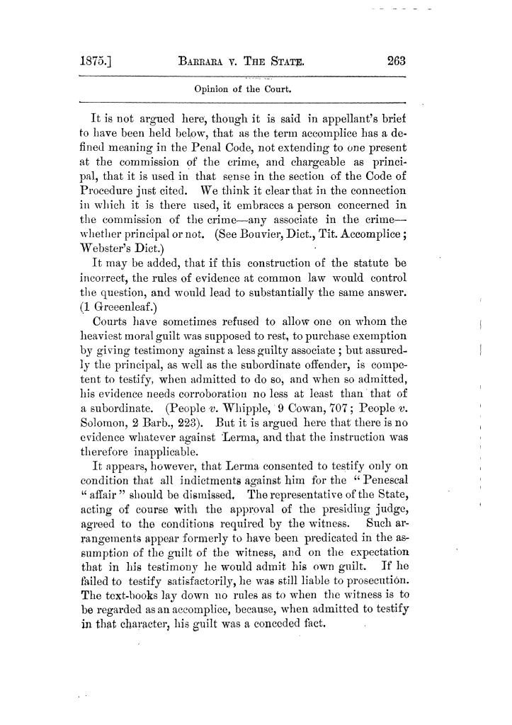 Cases argued and decided in the Supreme Court of Texas, during the latter part of the Tyler term, 1874, and the first part of the Galveston term, 1875.  Volume 42.                                                                                                      263