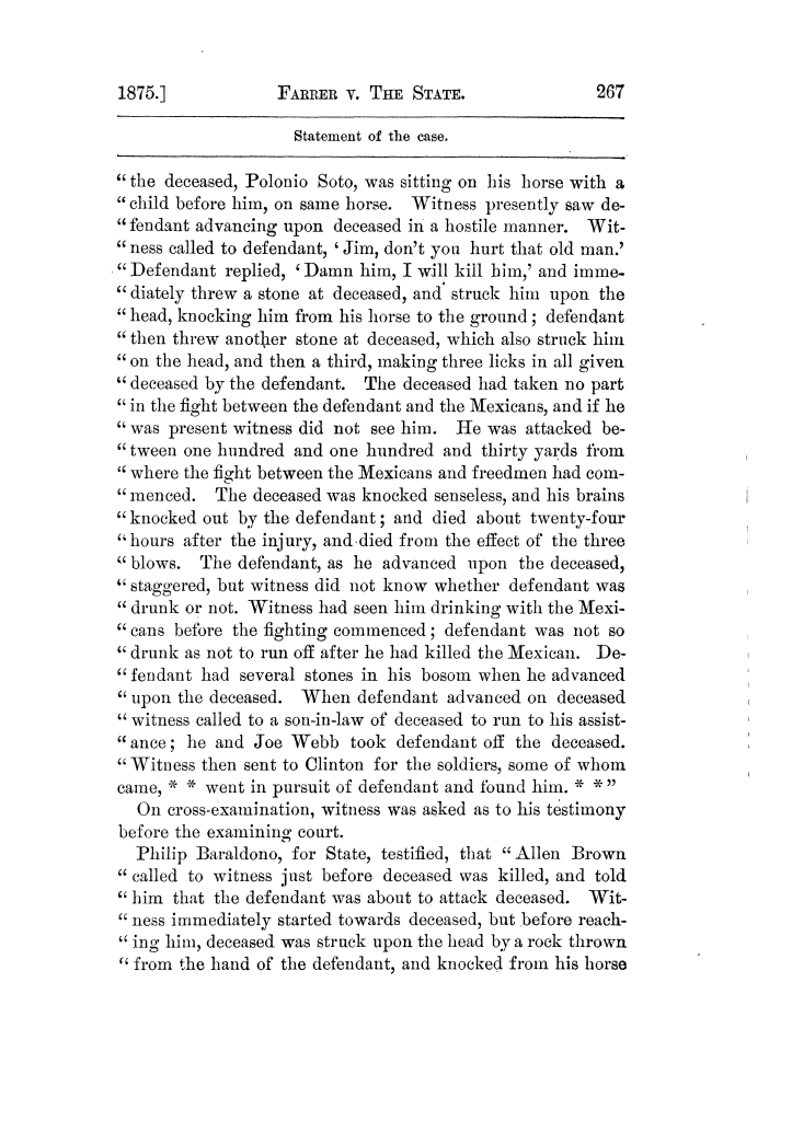 Cases argued and decided in the Supreme Court of Texas, during the latter part of the Tyler term, 1874, and the first part of the Galveston term, 1875.  Volume 42.                                                                                                      267