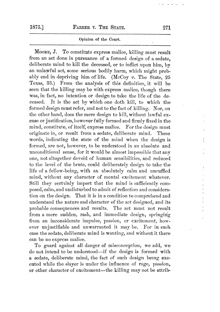 Cases argued and decided in the Supreme Court of Texas, during the latter part of the Tyler term, 1874, and the first part of the Galveston term, 1875.  Volume 42.                                                                                                      271