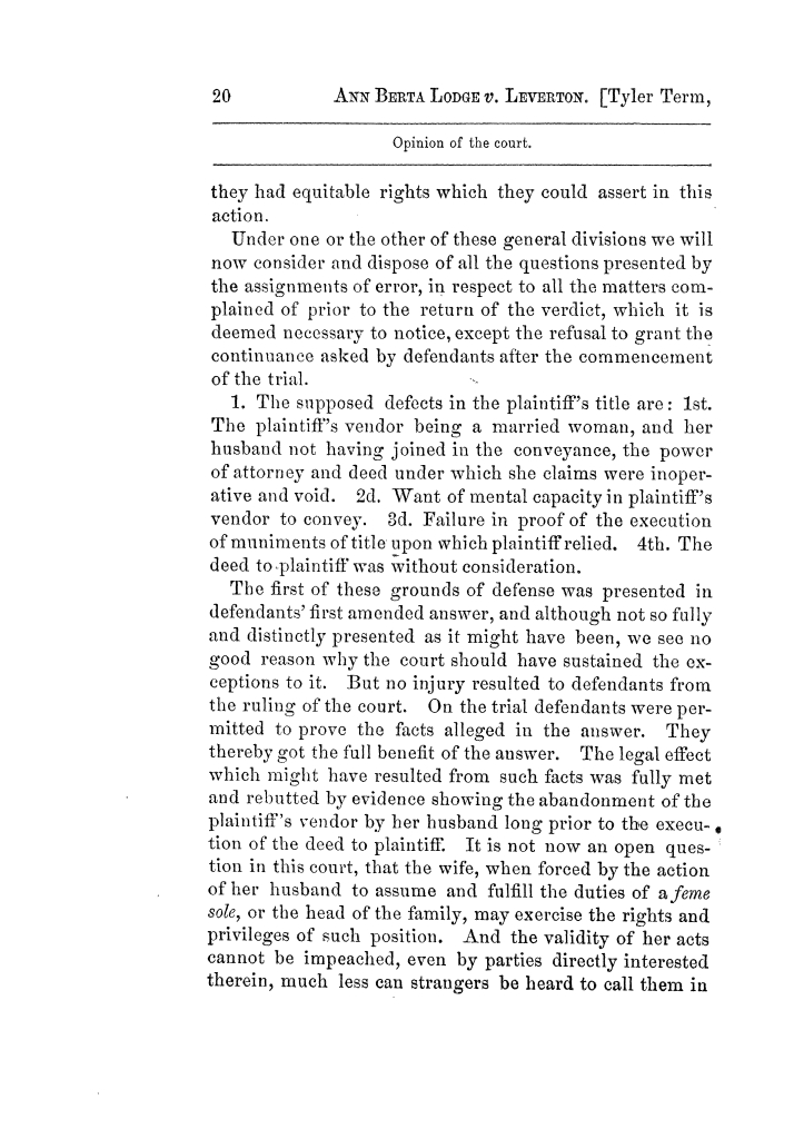 Cases argued and decided in the Supreme Court of Texas, during the latter part of the Tyler term, 1874, and the first part of the Galveston term, 1875.  Volume 42.                                                                                                      20