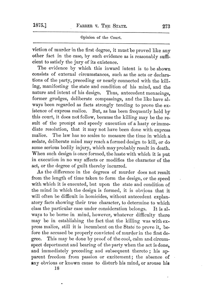 Cases argued and decided in the Supreme Court of Texas, during the latter part of the Tyler term, 1874, and the first part of the Galveston term, 1875.  Volume 42.                                                                                                      273