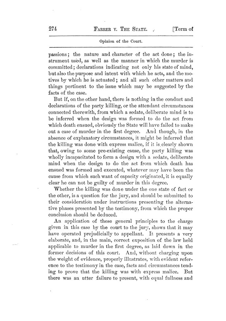Cases argued and decided in the Supreme Court of Texas, during the latter part of the Tyler term, 1874, and the first part of the Galveston term, 1875.  Volume 42.                                                                                                      274