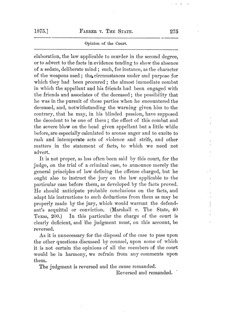 Cases argued and decided in the Supreme Court of Texas, during the latter part of the Tyler term, 1874, and the first part of the Galveston term, 1875.  Volume 42.                                                                                                      275