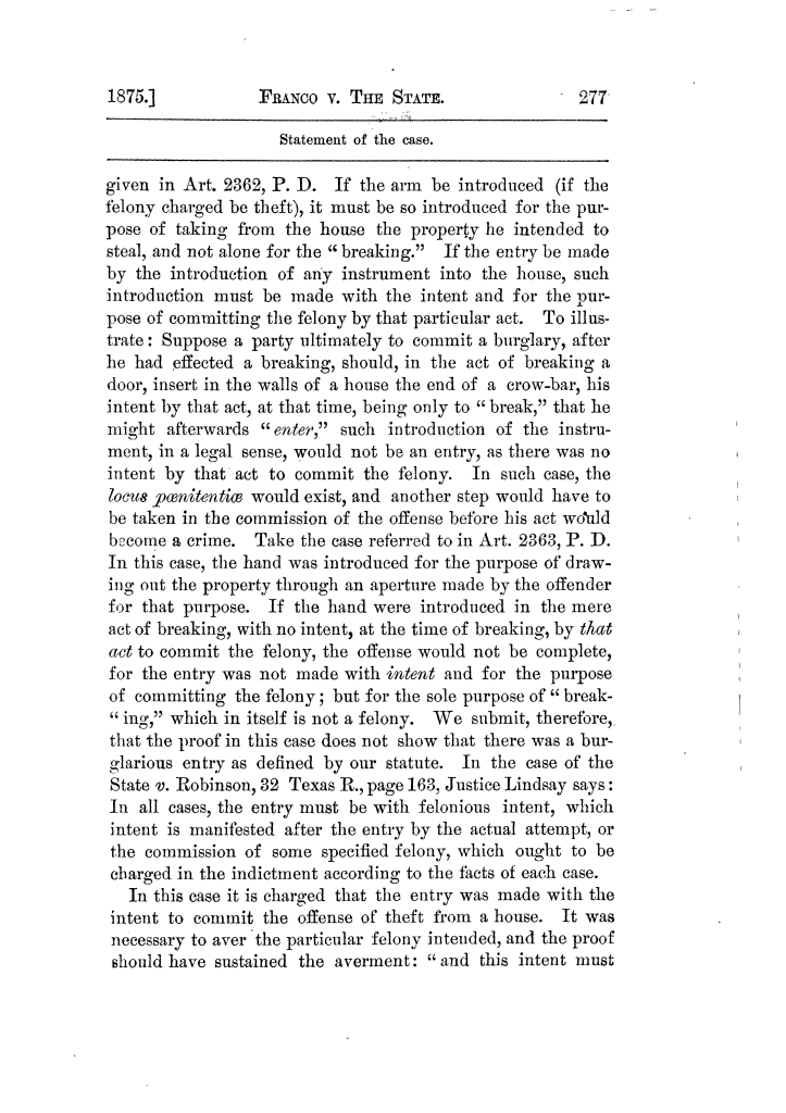 Cases argued and decided in the Supreme Court of Texas, during the latter part of the Tyler term, 1874, and the first part of the Galveston term, 1875.  Volume 42.                                                                                                      277