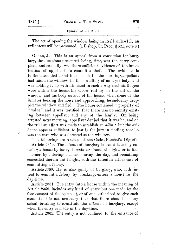 Cases argued and decided in the Supreme Court of Texas, during the latter part of the Tyler term, 1874, and the first part of the Galveston term, 1875.  Volume 42.                                                                                                      279