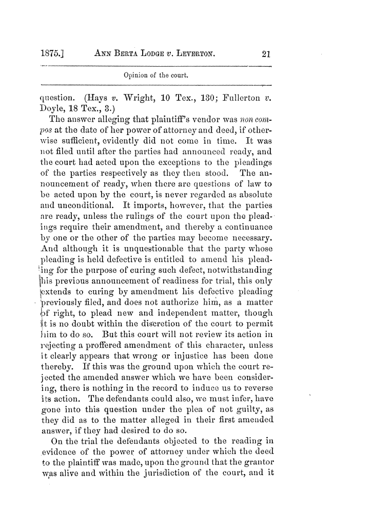 Cases argued and decided in the Supreme Court of Texas, during the latter part of the Tyler term, 1874, and the first part of the Galveston term, 1875.  Volume 42.                                                                                                      21
