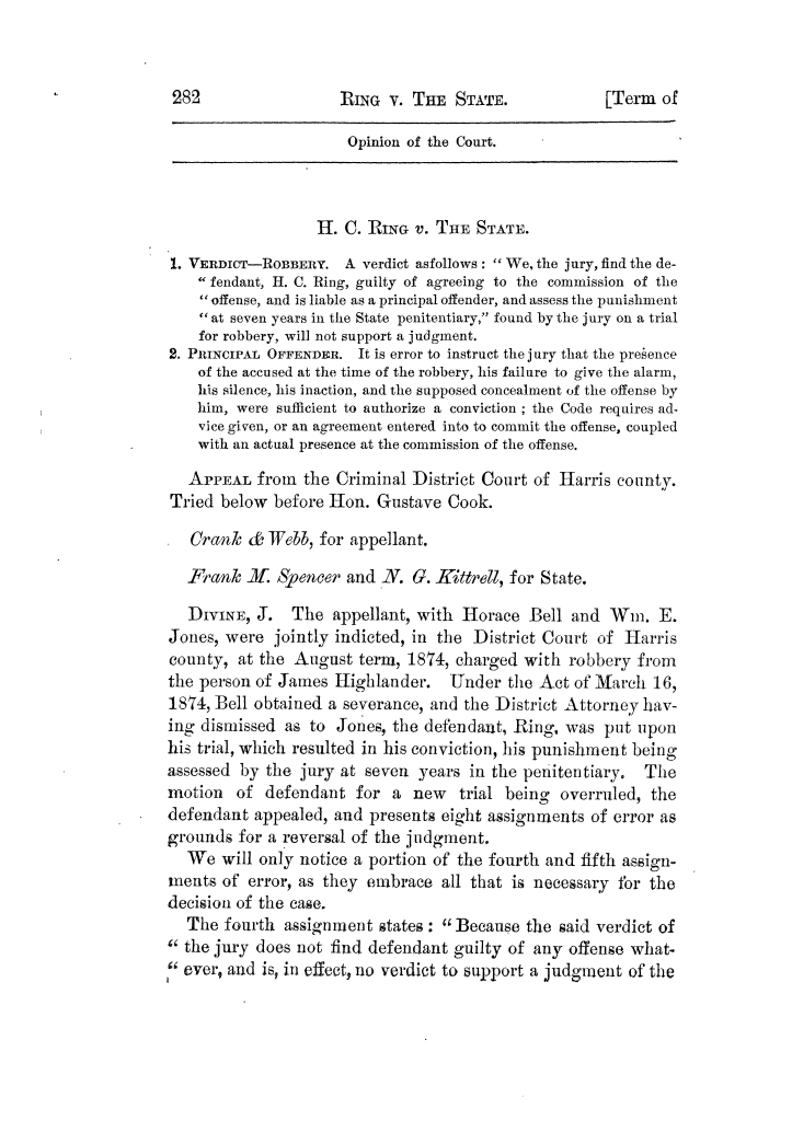 Cases argued and decided in the Supreme Court of Texas, during the latter part of the Tyler term, 1874, and the first part of the Galveston term, 1875.  Volume 42.                                                                                                      282