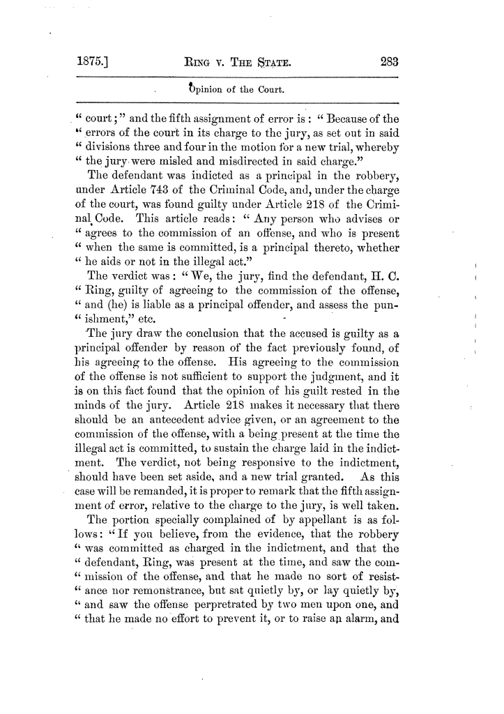 Cases argued and decided in the Supreme Court of Texas, during the latter part of the Tyler term, 1874, and the first part of the Galveston term, 1875.  Volume 42.                                                                                                      283
