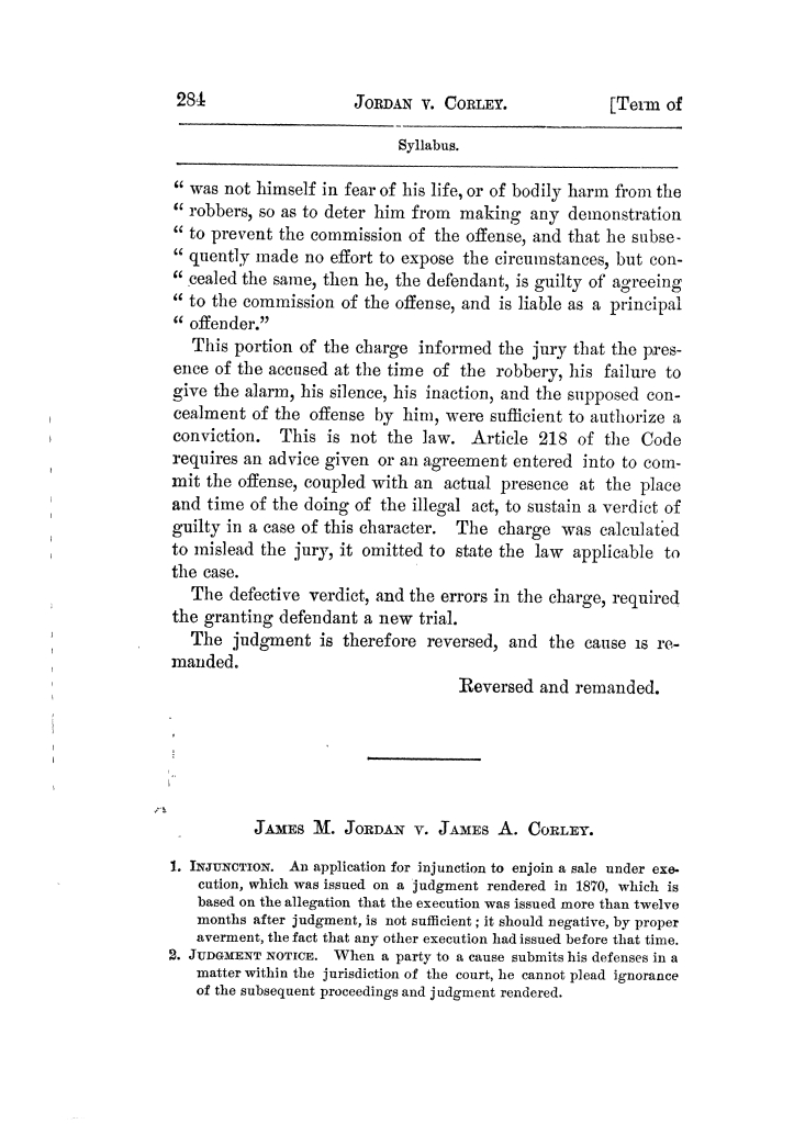 Cases argued and decided in the Supreme Court of Texas, during the latter part of the Tyler term, 1874, and the first part of the Galveston term, 1875.  Volume 42.                                                                                                      284