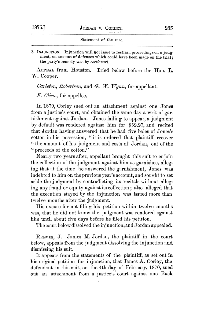Cases argued and decided in the Supreme Court of Texas, during the latter part of the Tyler term, 1874, and the first part of the Galveston term, 1875.  Volume 42.                                                                                                      285