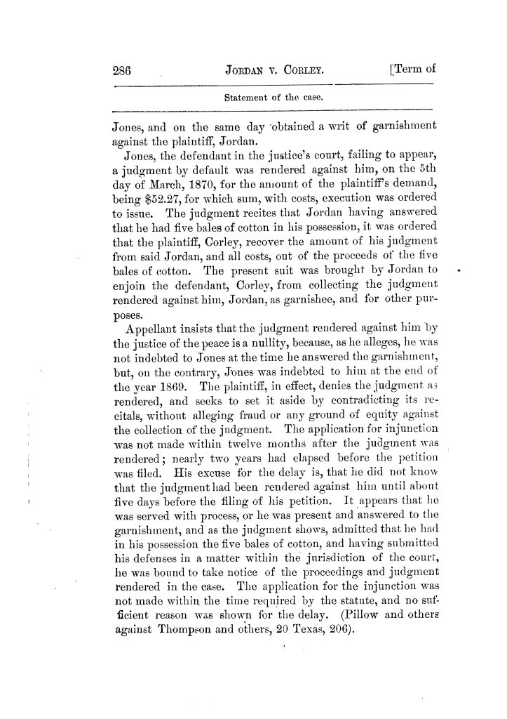 Cases argued and decided in the Supreme Court of Texas, during the latter part of the Tyler term, 1874, and the first part of the Galveston term, 1875.  Volume 42.                                                                                                      286