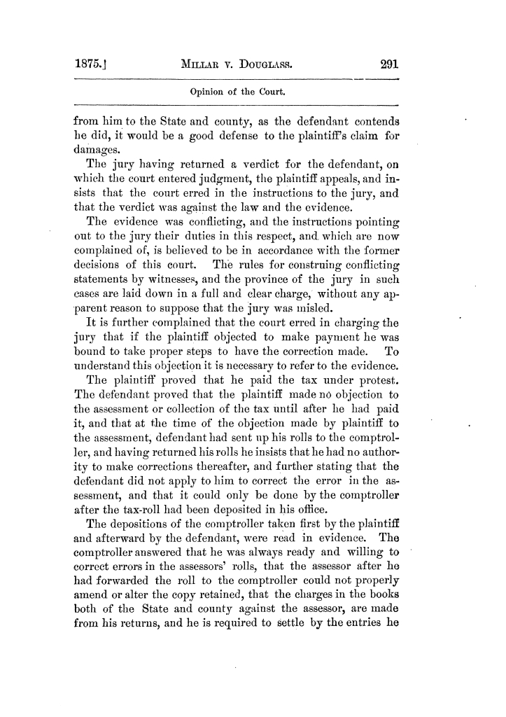 Cases argued and decided in the Supreme Court of Texas, during the latter part of the Tyler term, 1874, and the first part of the Galveston term, 1875.  Volume 42.                                                                                                      291