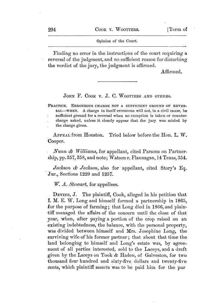 Cases argued and decided in the Supreme Court of Texas, during the latter part of the Tyler term, 1874, and the first part of the Galveston term, 1875.  Volume 42.                                                                                                      294