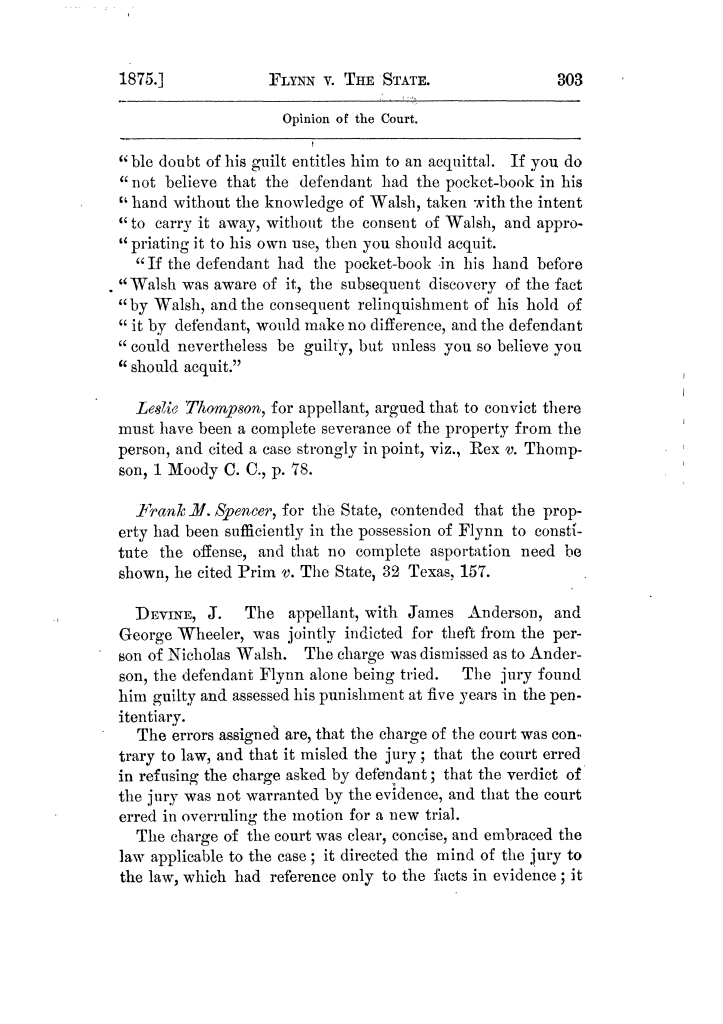 Cases argued and decided in the Supreme Court of Texas, during the latter part of the Tyler term, 1874, and the first part of the Galveston term, 1875.  Volume 42.                                                                                                      303