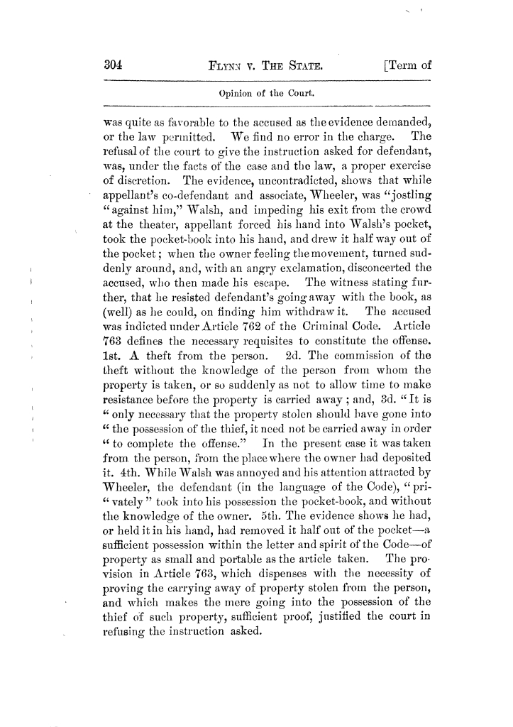 Cases argued and decided in the Supreme Court of Texas, during the latter part of the Tyler term, 1874, and the first part of the Galveston term, 1875.  Volume 42.                                                                                                      304