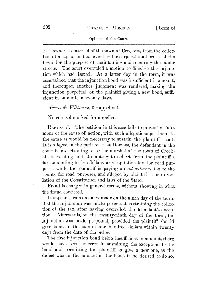 Cases argued and decided in the Supreme Court of Texas, during the latter part of the Tyler term, 1874, and the first part of the Galveston term, 1875.  Volume 42.                                                                                                      308