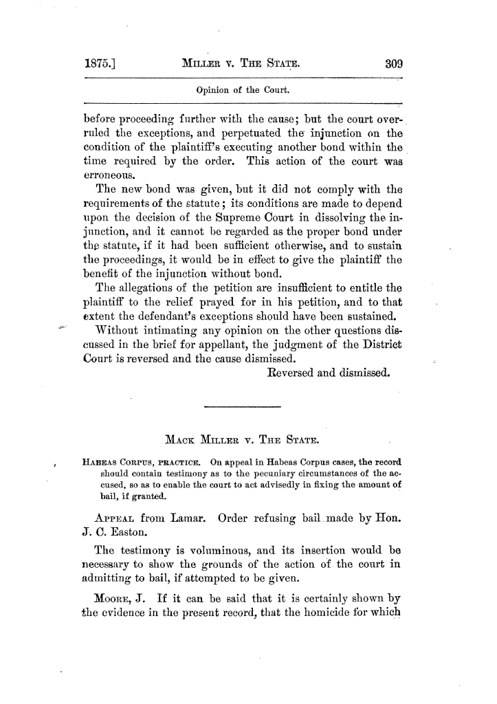 Cases argued and decided in the Supreme Court of Texas, during the latter part of the Tyler term, 1874, and the first part of the Galveston term, 1875.  Volume 42.                                                                                                      309