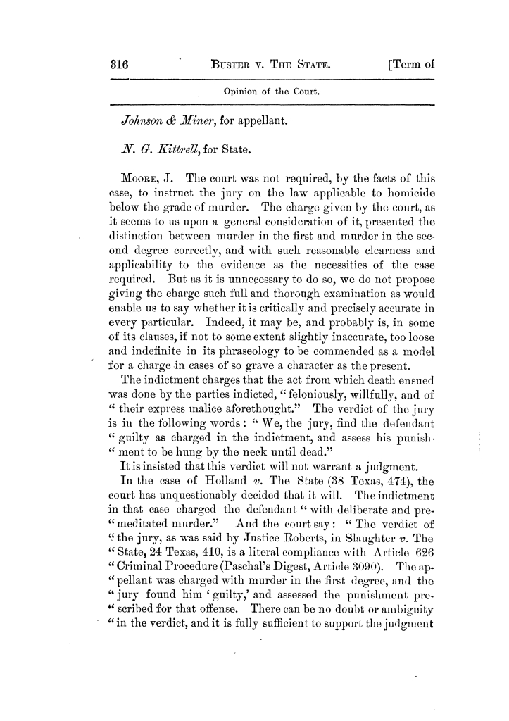Cases argued and decided in the Supreme Court of Texas, during the latter part of the Tyler term, 1874, and the first part of the Galveston term, 1875.  Volume 42.                                                                                                      316