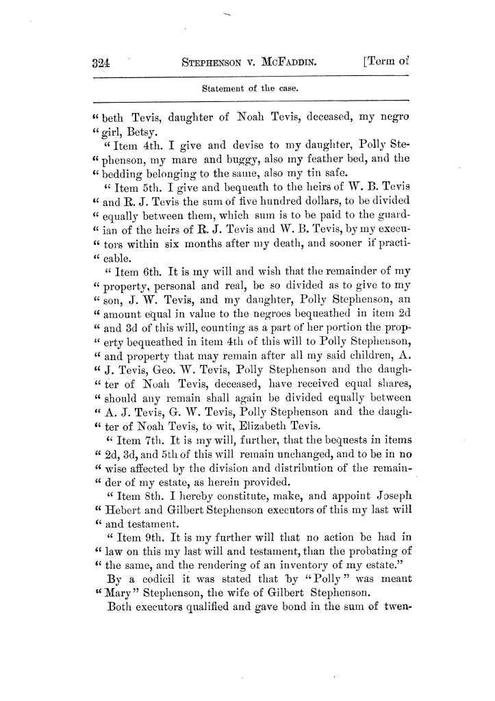 Cases argued and decided in the Supreme Court of Texas, during the latter part of the Tyler term, 1874, and the first part of the Galveston term, 1875.  Volume 42.                                                                                                      324