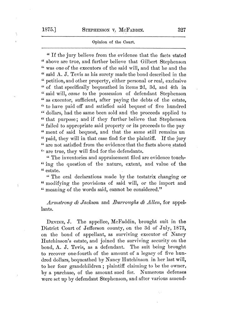 Cases argued and decided in the Supreme Court of Texas, during the latter part of the Tyler term, 1874, and the first part of the Galveston term, 1875.  Volume 42.                                                                                                      327