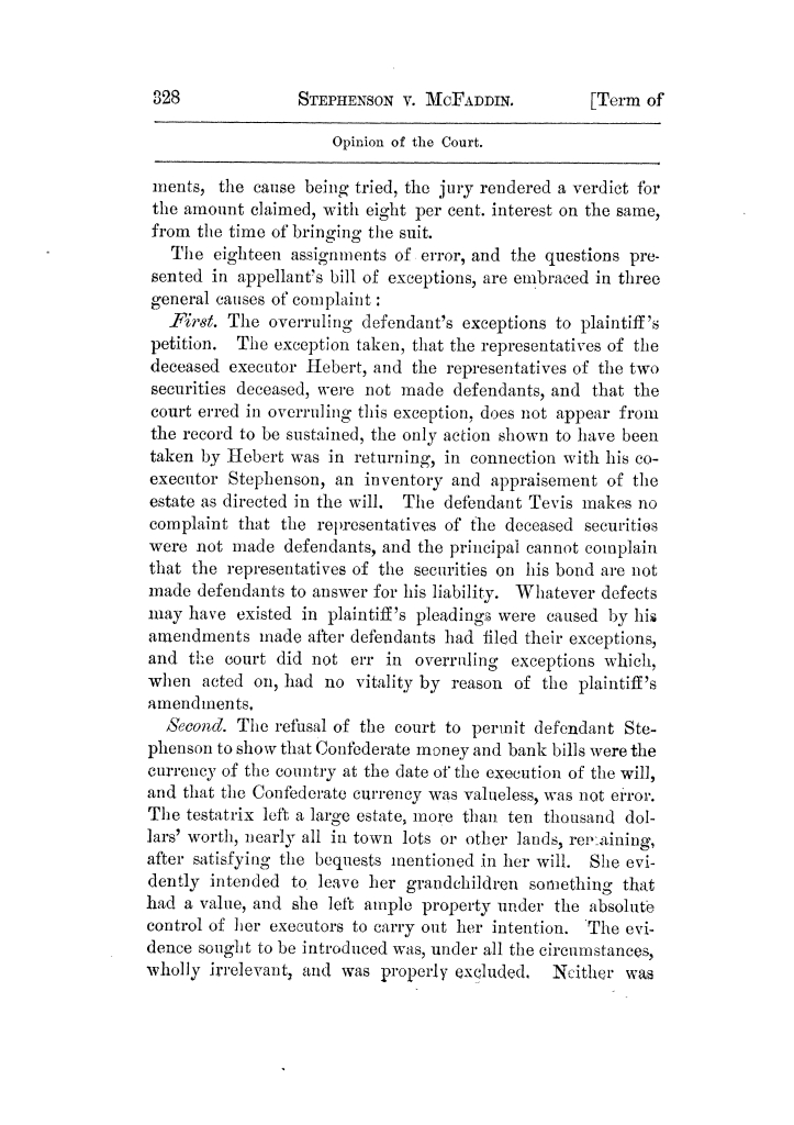 Cases argued and decided in the Supreme Court of Texas, during the latter part of the Tyler term, 1874, and the first part of the Galveston term, 1875.  Volume 42.                                                                                                      328