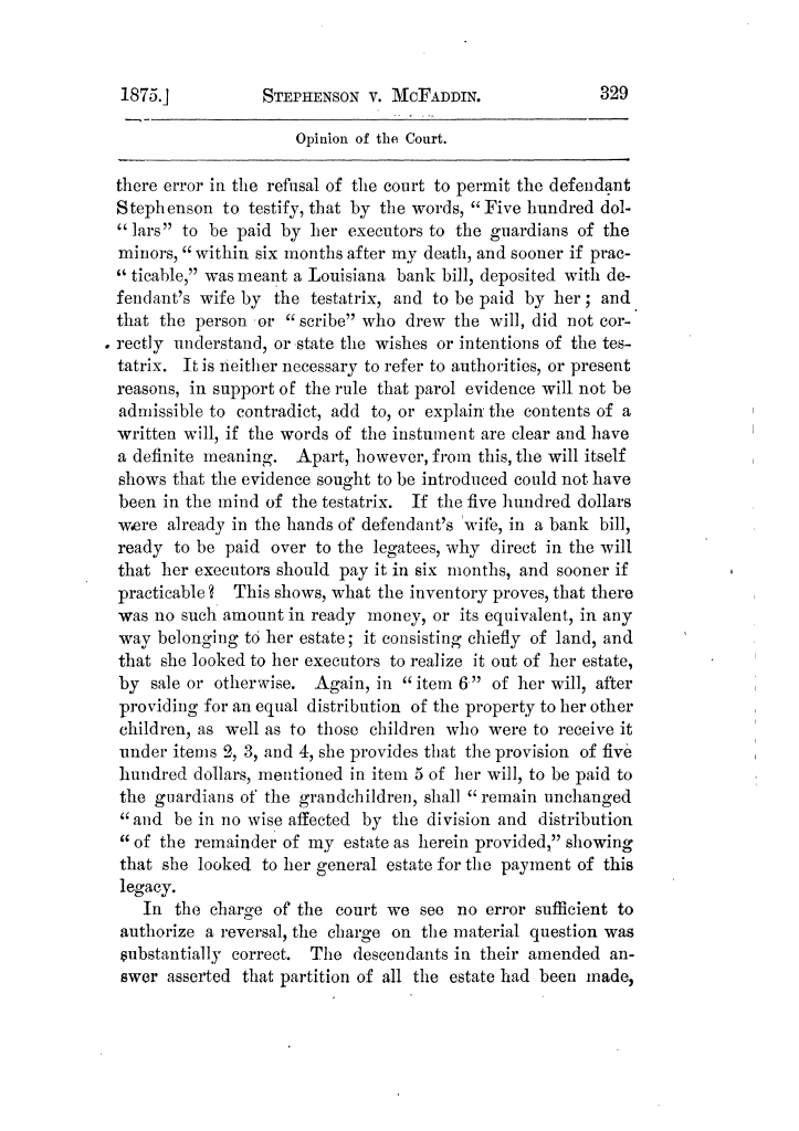 Cases argued and decided in the Supreme Court of Texas, during the latter part of the Tyler term, 1874, and the first part of the Galveston term, 1875.  Volume 42.                                                                                                      329