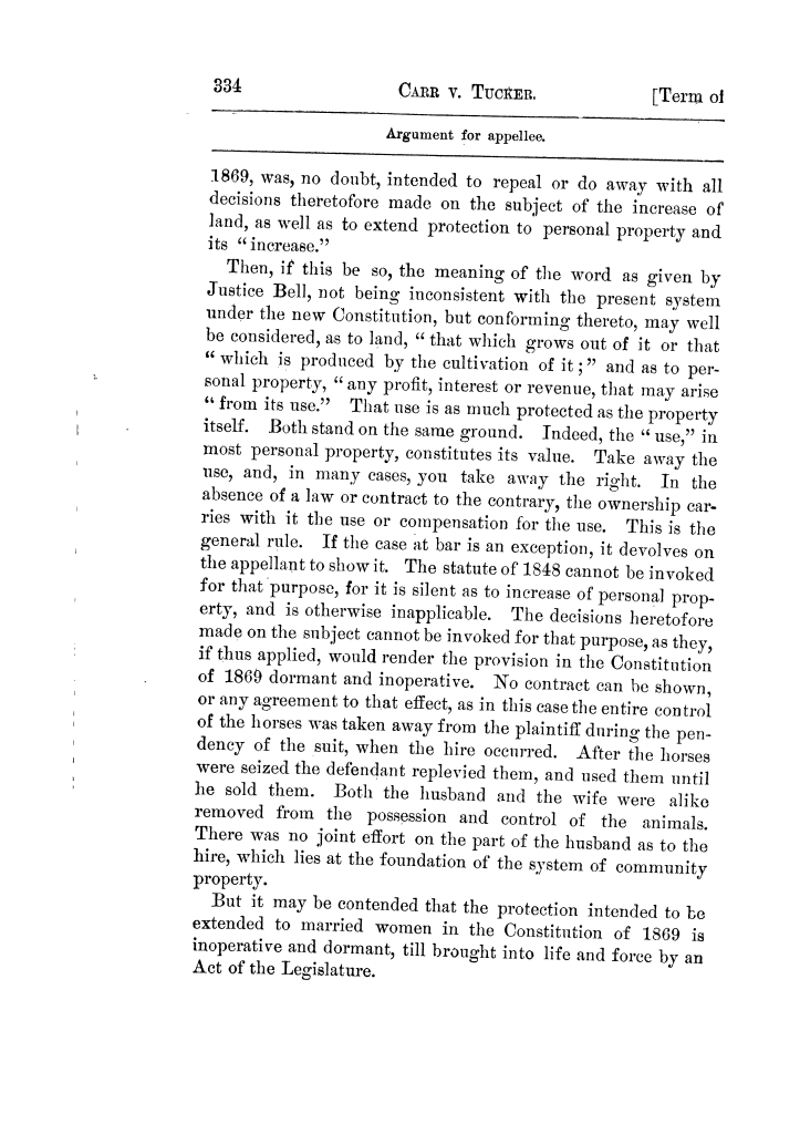 Cases argued and decided in the Supreme Court of Texas, during the latter part of the Tyler term, 1874, and the first part of the Galveston term, 1875.  Volume 42.                                                                                                      334