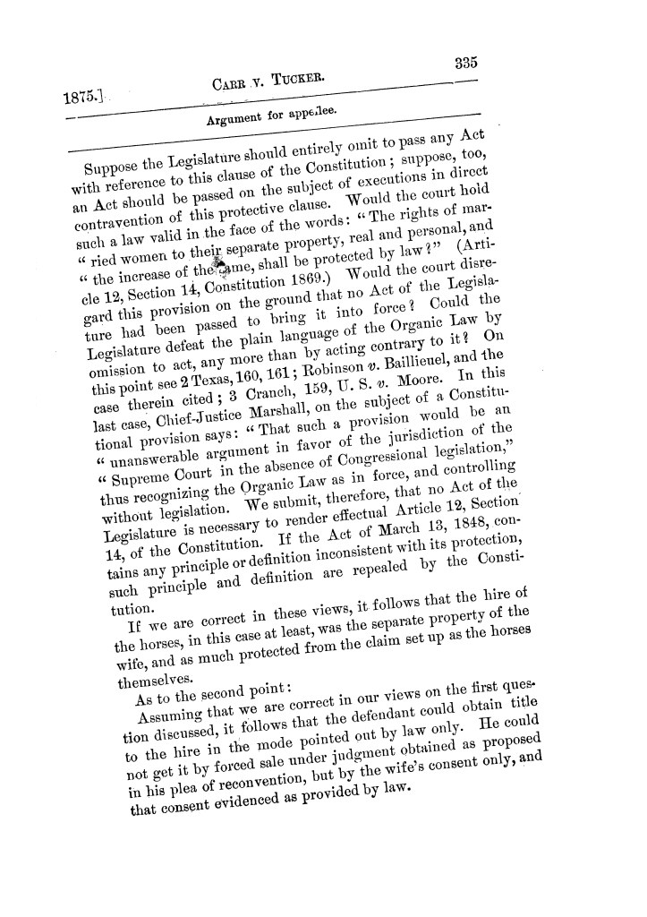 Cases argued and decided in the Supreme Court of Texas, during the latter part of the Tyler term, 1874, and the first part of the Galveston term, 1875.  Volume 42.                                                                                                      335