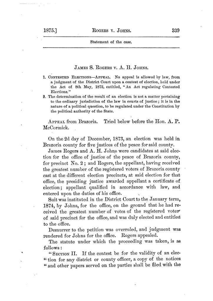 Cases argued and decided in the Supreme Court of Texas, during the latter part of the Tyler term, 1874, and the first part of the Galveston term, 1875.  Volume 42.                                                                                                      339