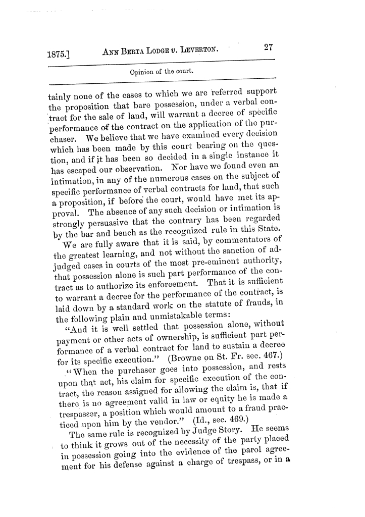 Cases argued and decided in the Supreme Court of Texas, during the latter part of the Tyler term, 1874, and the first part of the Galveston term, 1875.  Volume 42.                                                                                                      27