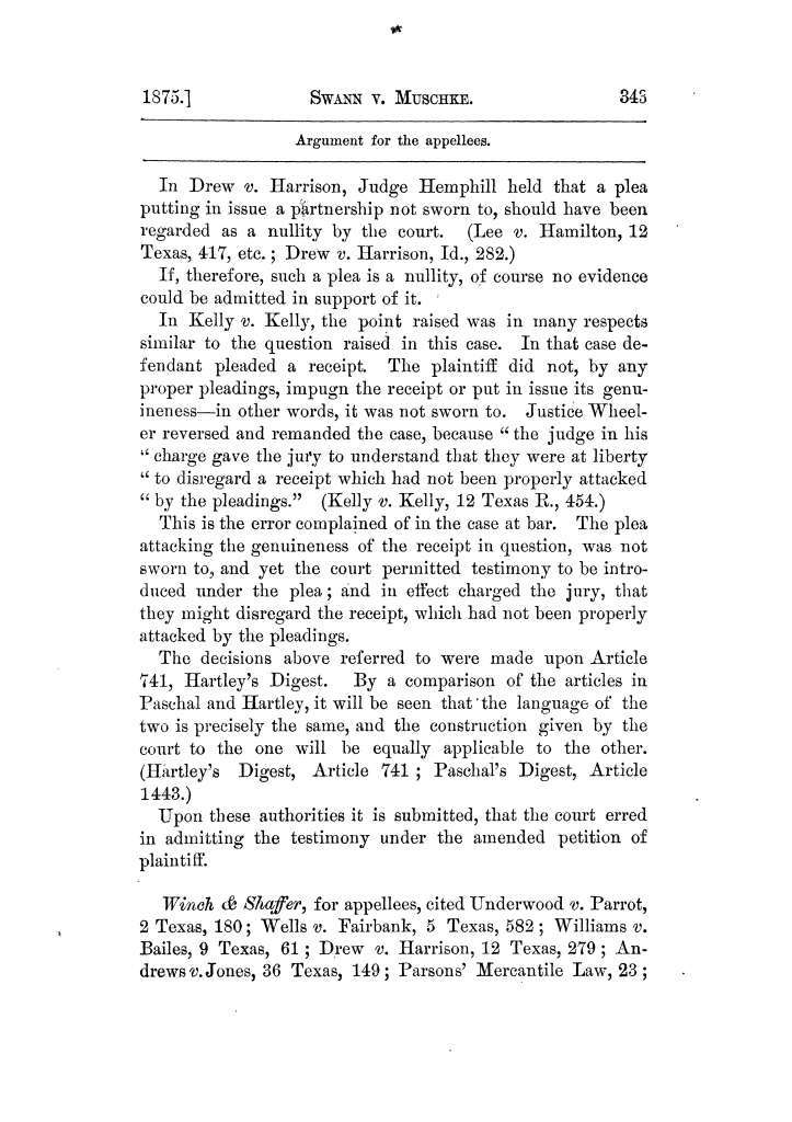 Cases argued and decided in the Supreme Court of Texas, during the latter part of the Tyler term, 1874, and the first part of the Galveston term, 1875.  Volume 42.                                                                                                      343