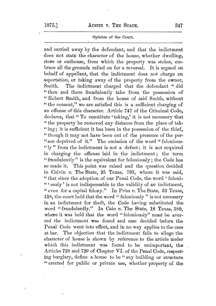 Cases argued and decided in the Supreme Court of Texas, during the latter part of the Tyler term, 1874, and the first part of the Galveston term, 1875.  Volume 42.                                                                                                      347