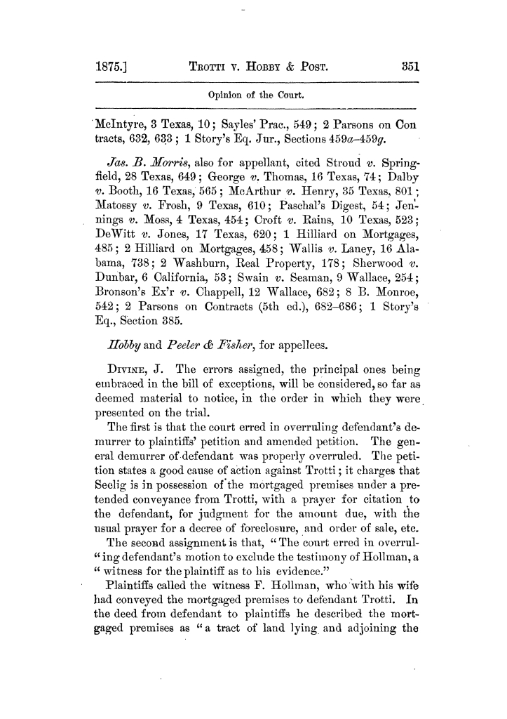 Cases argued and decided in the Supreme Court of Texas, during the latter part of the Tyler term, 1874, and the first part of the Galveston term, 1875.  Volume 42.                                                                                                      351