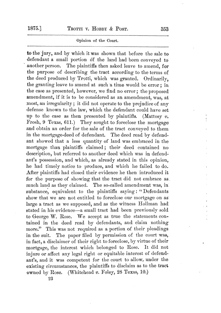 Cases argued and decided in the Supreme Court of Texas, during the latter part of the Tyler term, 1874, and the first part of the Galveston term, 1875.  Volume 42.                                                                                                      353