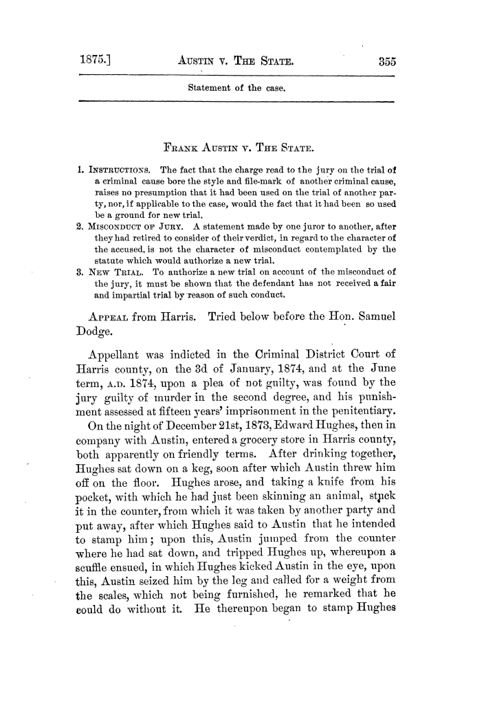 Cases argued and decided in the Supreme Court of Texas, during the latter part of the Tyler term, 1874, and the first part of the Galveston term, 1875.  Volume 42.                                                                                                      355