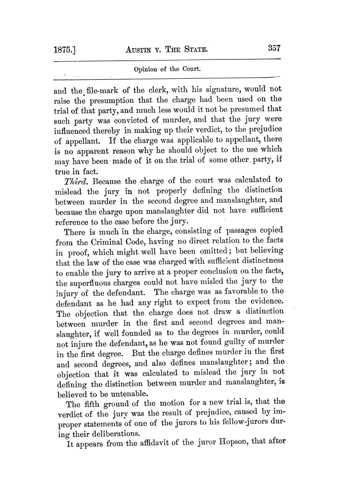 Cases argued and decided in the Supreme Court of Texas, during the latter part of the Tyler term, 1874, and the first part of the Galveston term, 1875.  Volume 42.                                                                                                      357