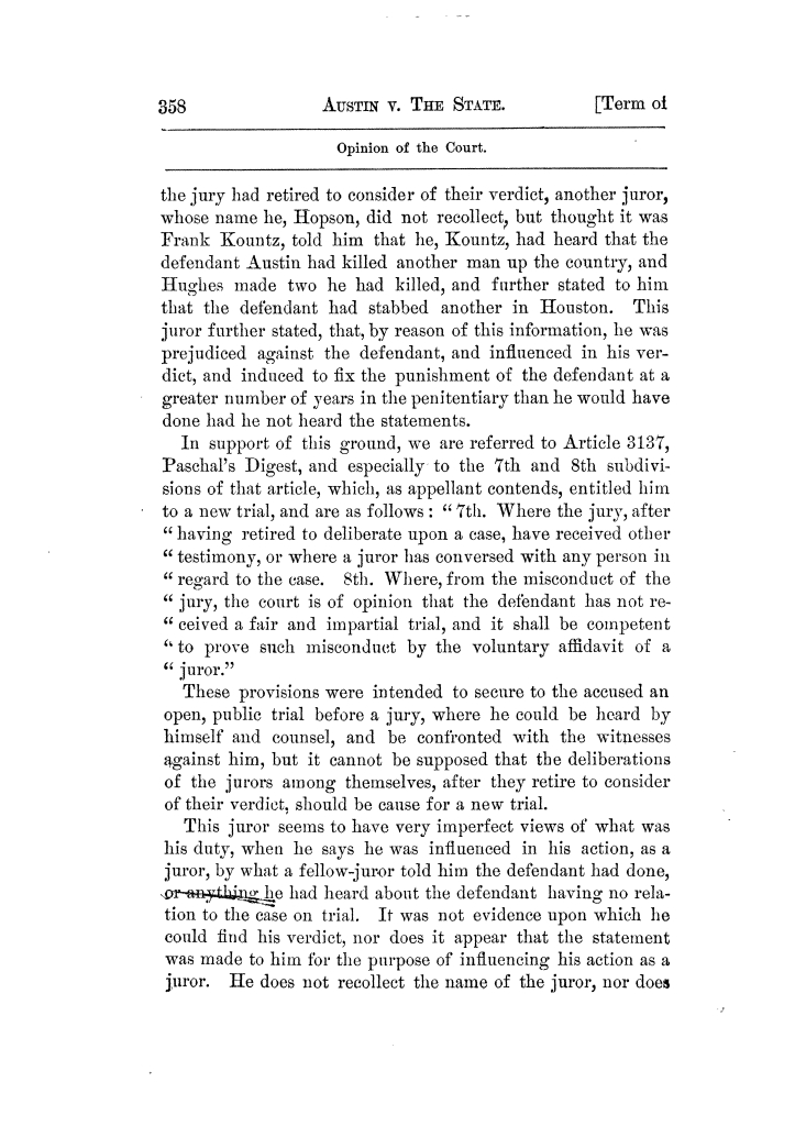 Cases argued and decided in the Supreme Court of Texas, during the latter part of the Tyler term, 1874, and the first part of the Galveston term, 1875.  Volume 42.                                                                                                      358