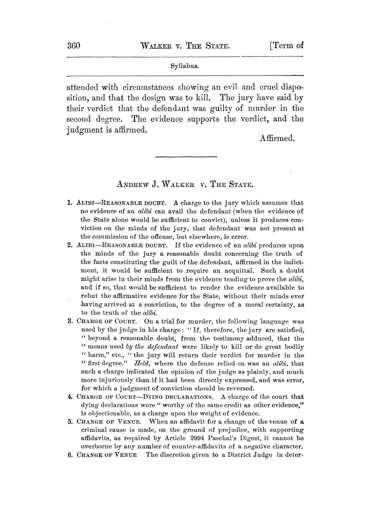 Cases argued and decided in the Supreme Court of Texas, during the latter part of the Tyler term, 1874, and the first part of the Galveston term, 1875.  Volume 42.                                                                                                      360