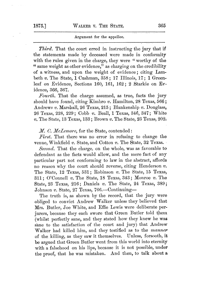 Cases argued and decided in the Supreme Court of Texas, during the latter part of the Tyler term, 1874, and the first part of the Galveston term, 1875.  Volume 42.                                                                                                      365