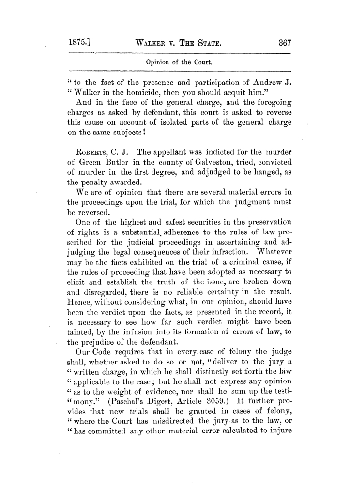 Cases argued and decided in the Supreme Court of Texas, during the latter part of the Tyler term, 1874, and the first part of the Galveston term, 1875.  Volume 42.                                                                                                      367