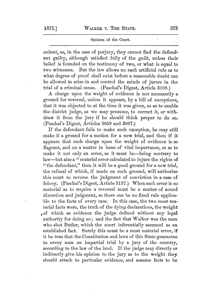 Cases argued and decided in the Supreme Court of Texas, during the latter part of the Tyler term, 1874, and the first part of the Galveston term, 1875.  Volume 42.                                                                                                      373