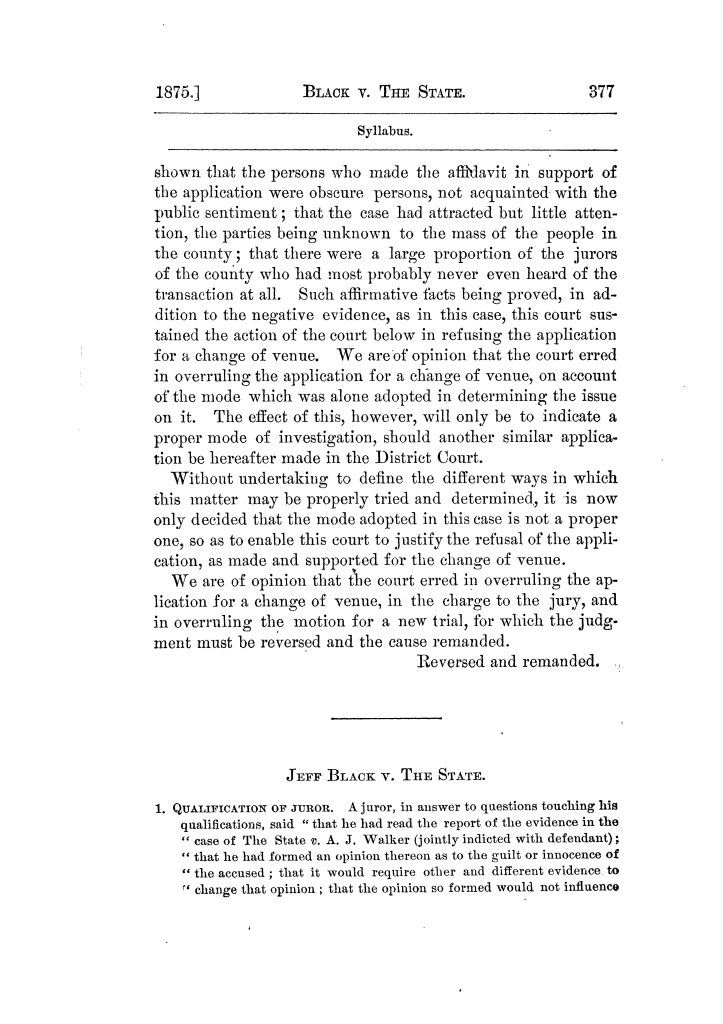 Cases argued and decided in the Supreme Court of Texas, during the latter part of the Tyler term, 1874, and the first part of the Galveston term, 1875.  Volume 42.                                                                                                      377