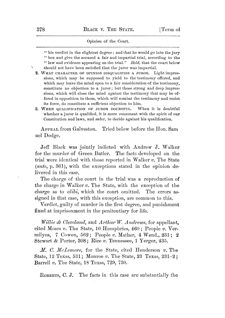 Cases argued and decided in the Supreme Court of Texas, during the latter part of the Tyler term, 1874, and the first part of the Galveston term, 1875.  Volume 42.                                                                                                      378