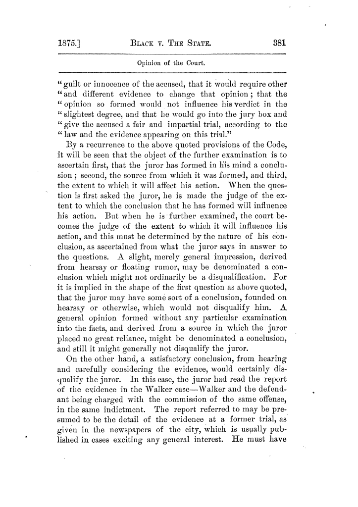 Cases argued and decided in the Supreme Court of Texas, during the latter part of the Tyler term, 1874, and the first part of the Galveston term, 1875.  Volume 42.                                                                                                      381