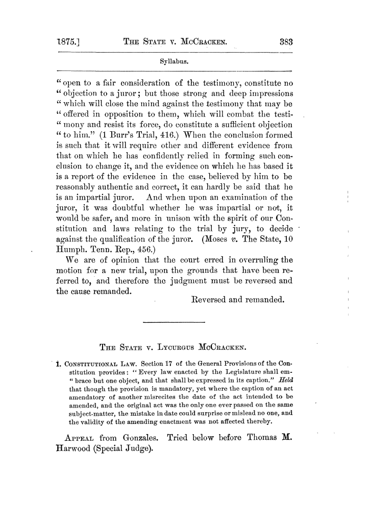 Cases argued and decided in the Supreme Court of Texas, during the latter part of the Tyler term, 1874, and the first part of the Galveston term, 1875.  Volume 42.                                                                                                      383