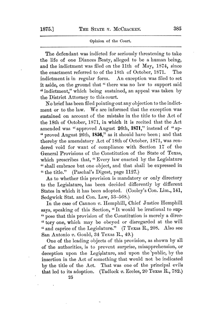 Cases argued and decided in the Supreme Court of Texas, during the latter part of the Tyler term, 1874, and the first part of the Galveston term, 1875.  Volume 42.                                                                                                      385
