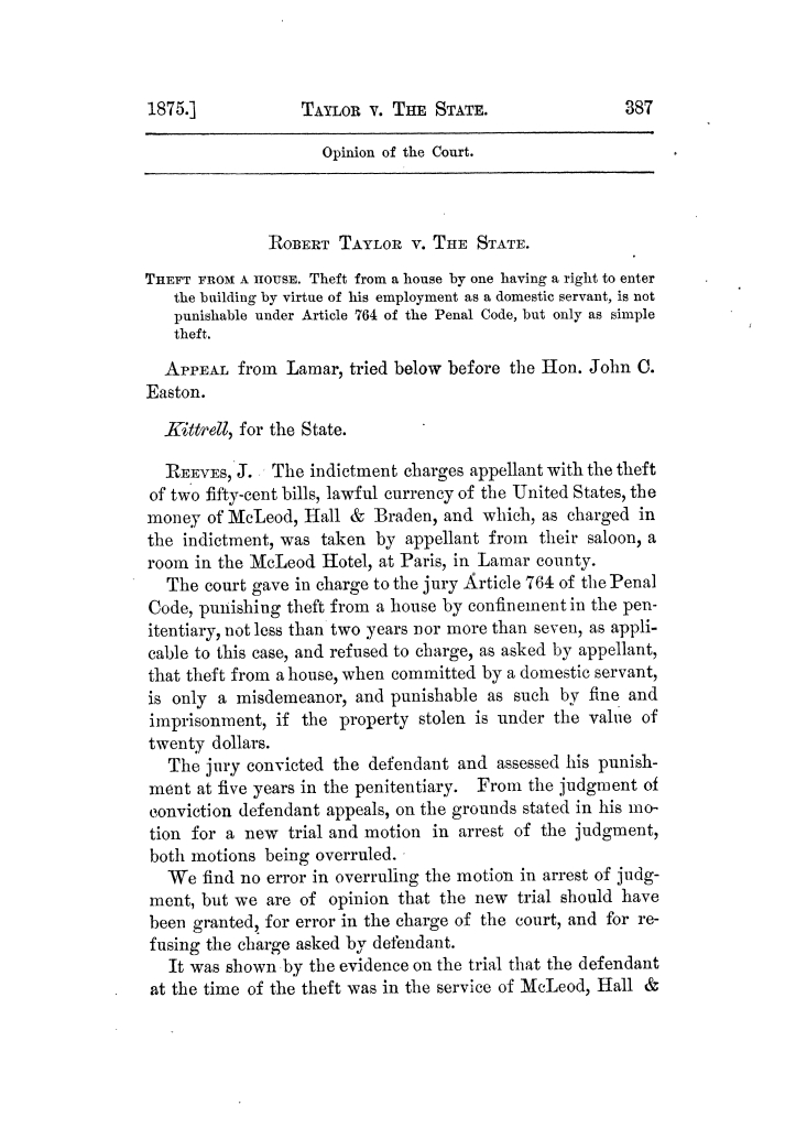 Cases argued and decided in the Supreme Court of Texas, during the latter part of the Tyler term, 1874, and the first part of the Galveston term, 1875.  Volume 42.                                                                                                      387