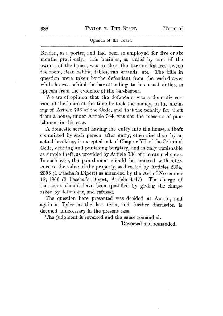 Cases argued and decided in the Supreme Court of Texas, during the latter part of the Tyler term, 1874, and the first part of the Galveston term, 1875.  Volume 42.                                                                                                      388