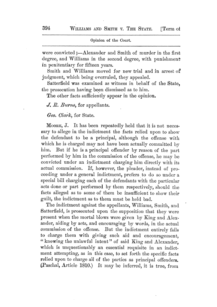 Cases argued and decided in the Supreme Court of Texas, during the latter part of the Tyler term, 1874, and the first part of the Galveston term, 1875.  Volume 42.                                                                                                      394