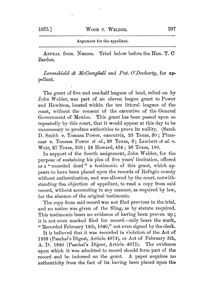 Cases argued and decided in the Supreme Court of Texas, during the latter part of the Tyler term, 1874, and the first part of the Galveston term, 1875.  Volume 42.                                                                                                      397